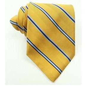 Brooks Brothers Gold Herringbone Blue Stripe Tie